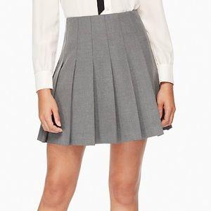 NWOT Kate Spade Grey Twill Pleated Mini Skirt